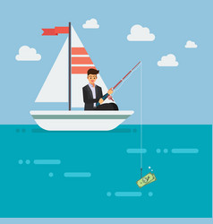 businessman fishing money vector image