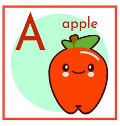 Cartoon fruit alphabet flashcard a is for apple vector