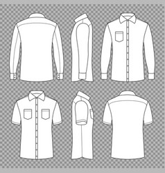 Casual mans blank outline shirts with short and vector