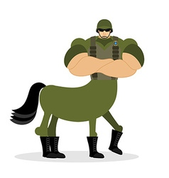 Centaur soldier in helmet military mythical vector