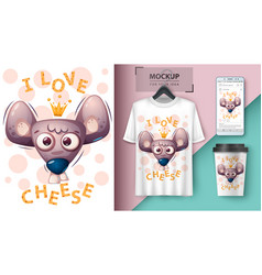 Cheese mouse rat - mockup for your idea vector