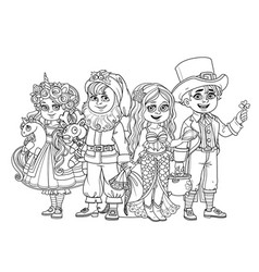 children in carnival costumes vector image