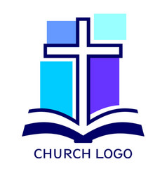 Church logo symbol christianity cross and vector