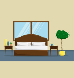 classic bedroom interior with bed and bedside vector image