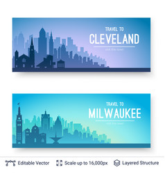 cleveland and milwaukee famous city scapes vector image