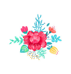 closeup of drawn bouquet on vector image