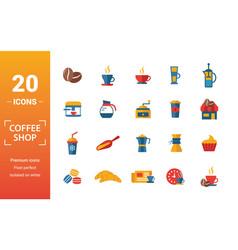 Coffe shop icon set include creative elements vector