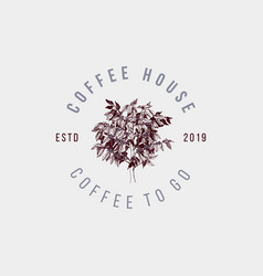 coffee house label with hand drawn coffee tree vector image