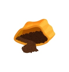Coffee powder in paper bag icon cartoon style vector image