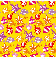 colorful xmas tree baubles seamless pattern vector image