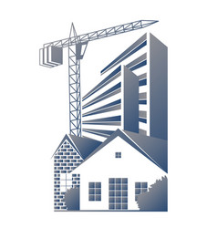 Construction of houses and apartment buildings vector