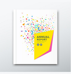 cover annual report colorful paper design on white vector image