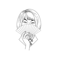Cute asian girl vector