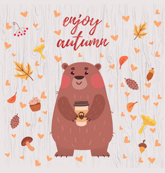 cute bear autumn card vector image