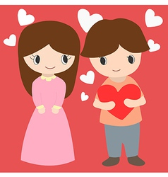 Cute Boy And Girl With Hearts Background For vector image