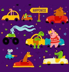 cute funny animals llama crocodile bookworm vector image