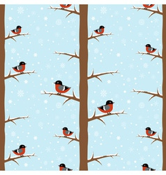 Cute winter bullfinch bird seamless pattern vector image