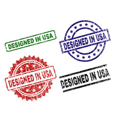 damaged textured designed in usa seal stamps vector image