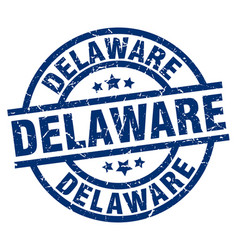 delaware blue round grunge stamp vector image