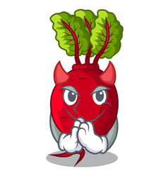devil beetroot with leaves isolated on mascot vector image