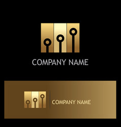 Dot shape technology gold logo vector
