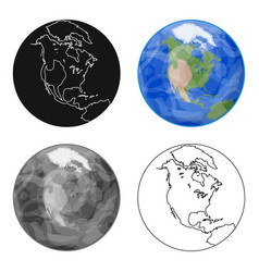 earth icon in cartoon style isolated on white vector image