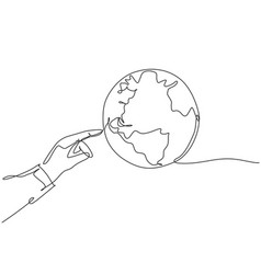 finger touch globe earth single continuous line vector image
