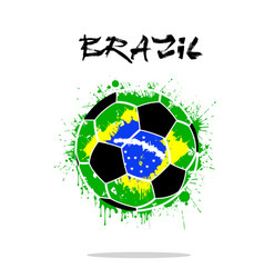 flag of brazil as an abstract soccer ball vector image
