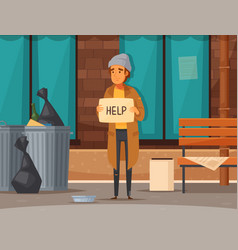Flat homeless people composition vector