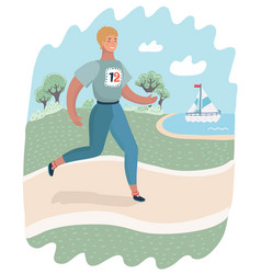 girl running in park woman is runner or jogger vector image