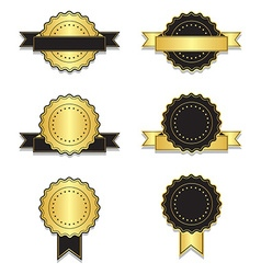 Golden and black vintage badges with ribbon vector