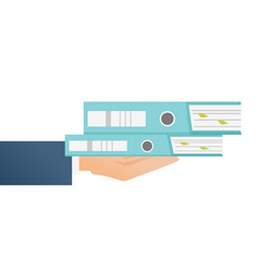 Hand businessman holding stack folders vector