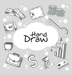 Hand draw money and business cartoons vector