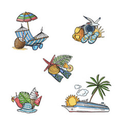 Hand drawn summer travel elements vector