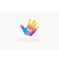 Hand logo design Childs hand logo Colorful logo vector