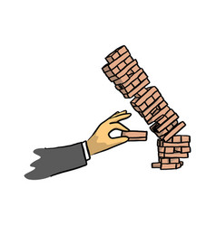 hand of businessman make tower wooden block game vector image