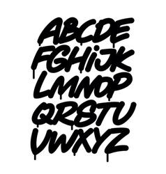 Hand written graffiti font alphabet vector image
