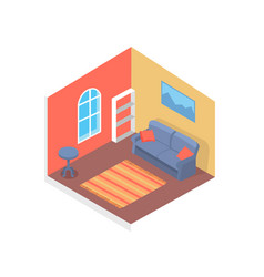 home design cute interior cozy room color card vector image