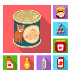 Isolated object of can and food icon collection vector