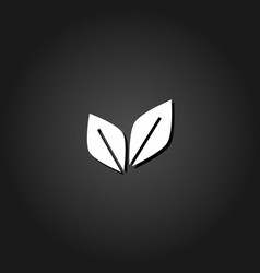 leaf pair icon flat vector image