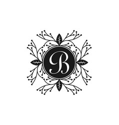 Letter b ornament of boutique logo design vector