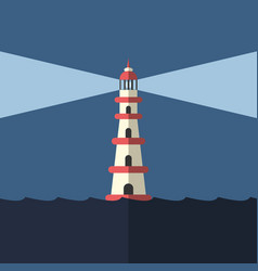 lighthouse night and sea vector image