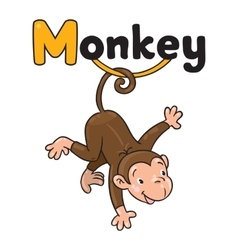 Litle funny monkey on lians Alphabet M vector image