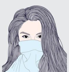 Long hair girl is wearing a warm sweater vector