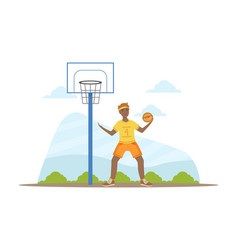 male african american playing basketball young vector image