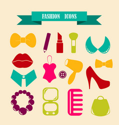 Multicolored icons with tape on topic fashion vector