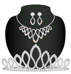 Necklace diadem and earrings with white precious s vector