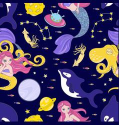 Octopus space cosmos princess girl seamless vector