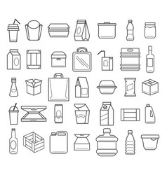 package and box line icons vector image