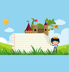 Paper template with prince and dragon in field vector